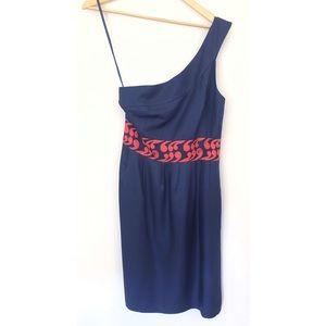 CK Bradley One Shoulder Navy Blue Silk Dress